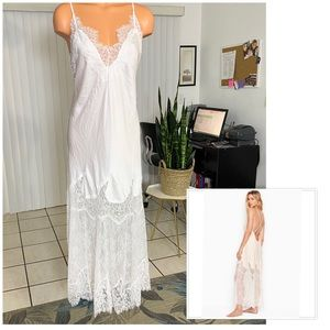 VICTORIA'S SECRET SATIN AND CHANTILLY SLIP DRESS